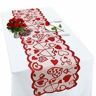 £16.32 • Buy Valentines Table Runner Red Heart Print Valentines Day Decorations 13x72