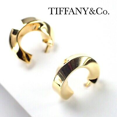 £489.07 • Buy Authentic Tiffany & Co. Twisted Hoop Earrings 18k Yellow Gold