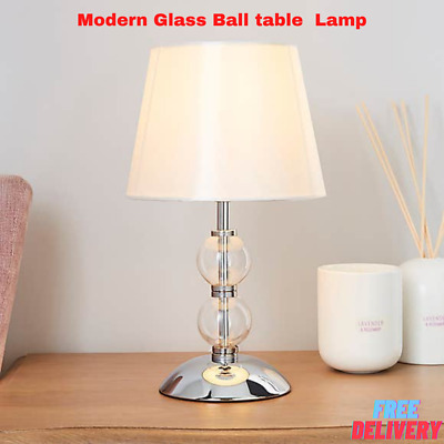 £19.99 • Buy Modern Glass Ball Table Lamp With A Satin Lampshade Bedroom Lounge Table Lamp