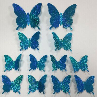 AU4.49 • Buy 12 Pcs 3D  Simulation Flash DIY Butterfly Wall Stickers Home Wall Decoration