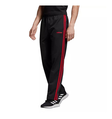 AU49.80 • Buy Adidas Track Pants Mens Authentic Essentials 3 Stripes Training Black With Red