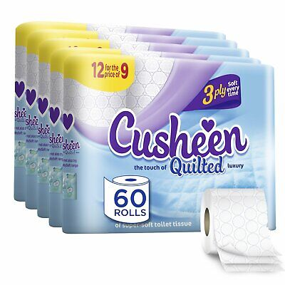 Cusheen Luxury Quilted White 3ply Hygiene Toilet Tissue Paper 60 Rolls Supersoft • 20.99£