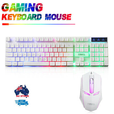 AU16.89 • Buy Gaming Mechanical Keyboard And Wired Mouse Rainbow LED Backlit PC Laptop White
