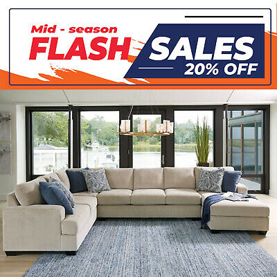 AU2599 • Buy Lincoln 7 Seater Modular Fabric Lounge Suite With Chaise
