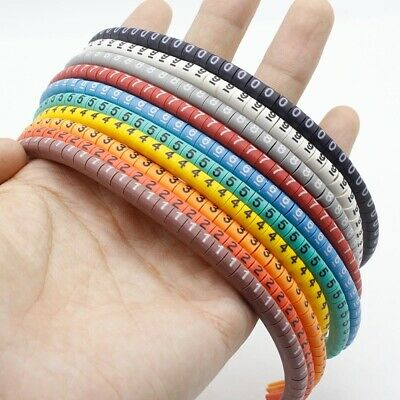 500PCS EC-0 Cable Wire Marker 0 To 9 Number Colored Marking Tool For 1.5mm2 Size • 7.99£