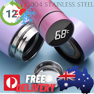 AU23.21 • Buy Stainless Steel Digital Thermal Insulated Thermos Water Tea Coffee Yoga Gym Fit