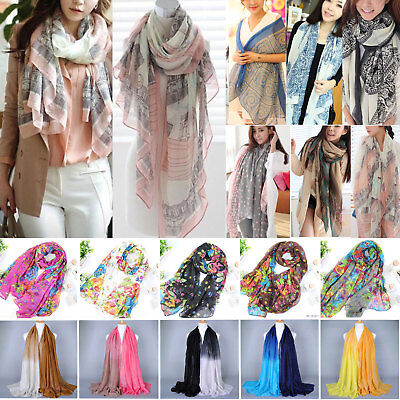 £3.79 • Buy Women Pashmina Floral Silk Shawl Scarf Soft Comfy Casual Voile Stoles Scarves