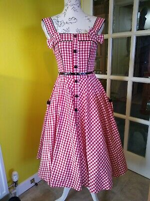 Hell Bunny Vixen Red/White Gingham Full Circle Swing Dress Size 8 (S) • 25£
