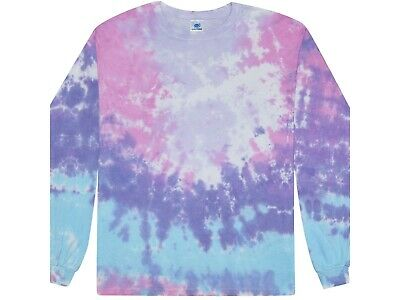 $16.90 • Buy Cotton Candy Long Sleeve Tie Dye T-Shirt Adult & Kids Sizes 100% Cotton