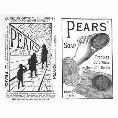 £9.95 • Buy PEARS SOAP Optical Illusion - Antique Advertising Print 1886