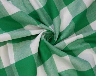 £8.50 • Buy Emerald Grean Large Gingham Cotton Checkered Fabric - Width 140CM
