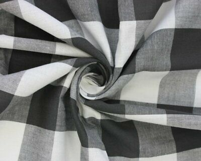 £8.50 • Buy Black And White Large Gingham Cotton Checkered Fabric - Width 140CM