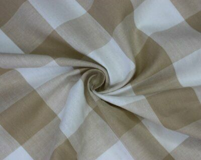 £8.50 • Buy Beige And White Large Gingham Cotton Checkered Fabric - Width 140CM
