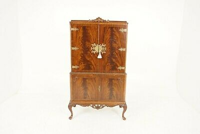 $2250 • Buy Antique Cocktail Cabinet, Queen Anne Flame Mahogany, Bar, Drinks Cabinet, B2501