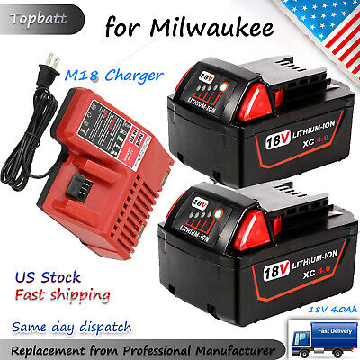 $21.59 • Buy 18 Volt Lithium XC 4.0Ah Extended Battery For Milwaukee 48-11-1860 / M18 Charger