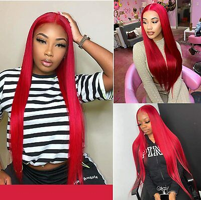 £14.99 • Buy Long Red Synthetic Small Lace Front Wigs Straight Glueless For Cosplay Party Wig