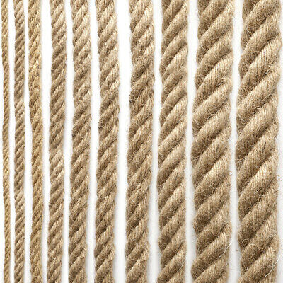 £9.99 • Buy Natural Jute Rope Twisted Braided Decking Garden Boating Sash 6-40mm Up To 50m