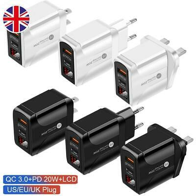£6.39 • Buy EU/UK/US Plug USB Type C Fast Wall Charger Adapter PD 20W For IPad IPhone 12 Pro