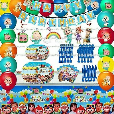 Cocomelon Birthday Horn Flags Tableware Tablecover Banner Kid Party Decorations • 4.39£