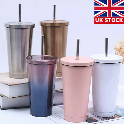 Stainless Steel Coffee Tumbler Cup Tumbler With Lid And Straw Drinking Mug 500ML • 12.99£