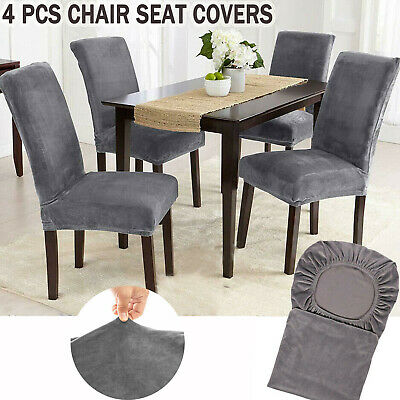 £6.99 • Buy Velvet Dining Chair Seats Covers Slip Stretch Wedding Banquet Party Removable