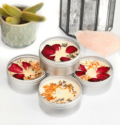 £9.99 • Buy TIN CANDLE MAKING KIT Makes 1 Dried Flower Petal Scented Eco Soy Wax Tin KVH