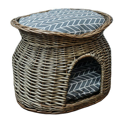 £34.95 • Buy Wicker Cat House Pet Bed Basket Kitten Tower Cozy Cave Cushions Grey UKES