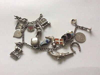 Vintage Sterling Silver Charm Bracelet, 14 Charms, 2 Travel Shields, 1 Coin, • 35£