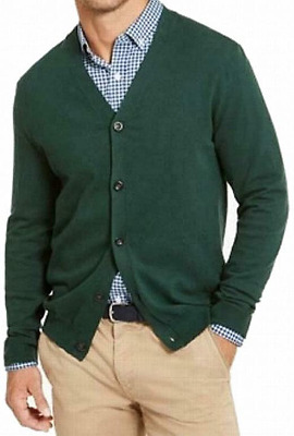 $16.99 • Buy Clubroom Mens Green Long Sleeve V Neck Classic Fit Button Down Sweater