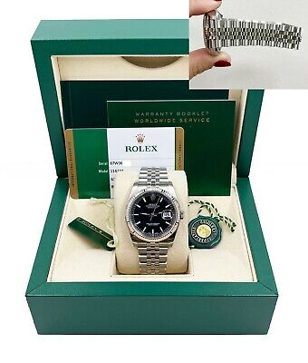$ CDN10492.07 • Buy Rolex Datejust 116234 Black Roman Dial Stainless Steel Box Papers 2015
