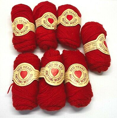 £39.34 • Buy Vintage 1950s Chadwicks Red Heart Knitting Worsted Red Virgin Wool Yarn Lot Of 7