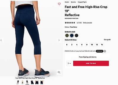 AU69 • Buy *$129 Lululemon Navy Fast And Free Running Crop Tights 0 2 - Buttery Soft!