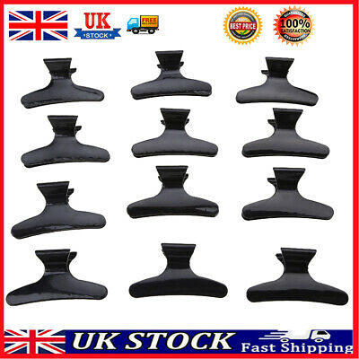 £4.62 • Buy 12pcs Salon Hairdressing Clips Black Butterfly Hair Styling Section Clamps UK