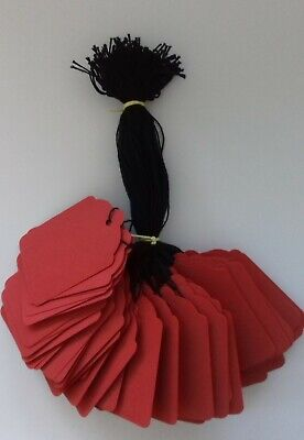£2.50 • Buy 100 Red Strung Labels 69mm X 44mm Swing Tickets Gift Price Tags Black Strings
