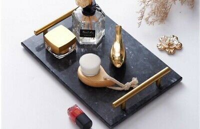 £25 • Buy Natural Rectangular Marble Tray With Gold  Handles For Serving Perfume Makeup