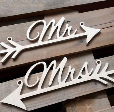 £4.99 • Buy Mr & Mrs Arrow Chain Signs - Wedding Party - Rustic Wood Decoration 2 Couple Set