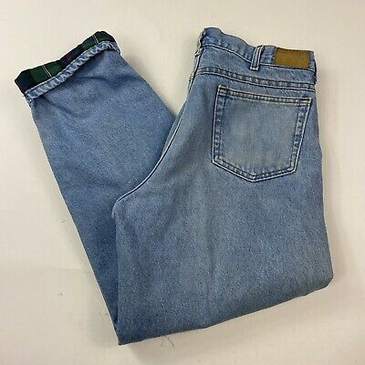 $17.99 • Buy Vintage Made In USA Union Made LL Bean Flannel Lined Jeans 32x30