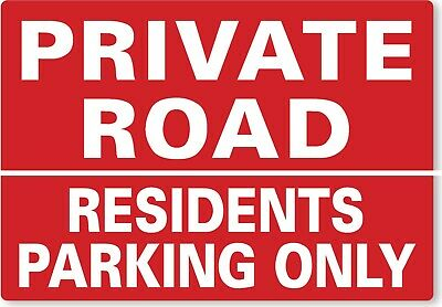 £8.99 • Buy METAL SIGN Private Road Residents Parking Only Red White