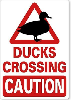£8.99 • Buy METAL SIGN Ducks Wildfowl Crossing CAUTION Red White