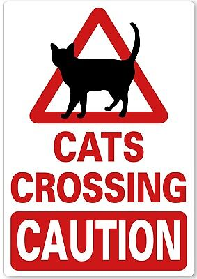 £4.99 • Buy METAL SIGN Cats Crossing CAUTION Red White