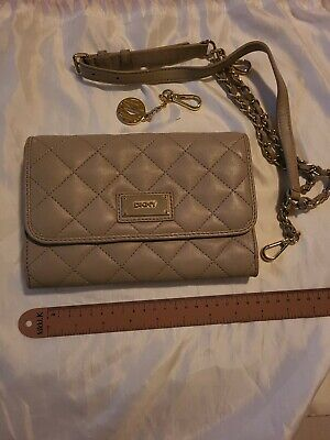 AU60 • Buy Dkny Crossbody Bag Beige Quilted Leather Small