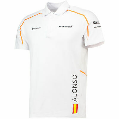 NEW Mens Alonso McLaren Renault F1 Team Polo T-Shirt White Size S Formula One • 5£