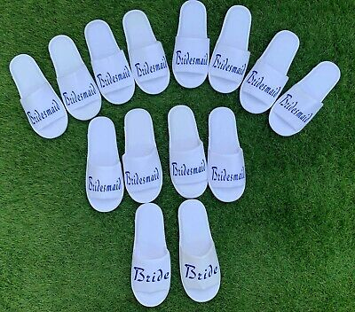 £3.39 • Buy White Wedding Slippers - Personalised Print Novelty Bridal Party Spa Open Toe
