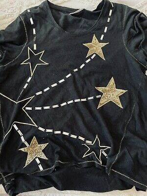 AU15.50 • Buy Sass & Bide Black Tee Size S Embellished With Gold Sequins And Embroidery
