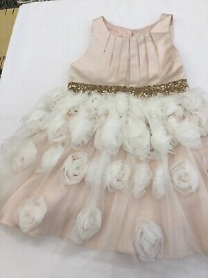 Monsoon Girls Party Bridesmaid Wedding Dress Sequins Flowers Pink Sash Age 6 • 14.99£