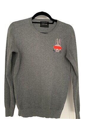 $ CDN86.34 • Buy Markus Lupfer Grey Wool Jumper Bunny With Sequin Sunglasses Size M Excellent Con