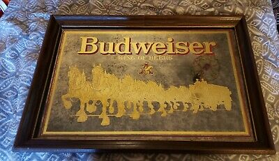 $ CDN125.53 • Buy Vintage Budweiser Clydesdales And Wagon Smoke Glass Mirror 15 X 21  Gold Edges
