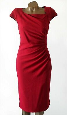 AU107.18 • Buy LK Bennett Red Dress Size 14 Ruched & Pleated Tailored Lined Cap Sleeve