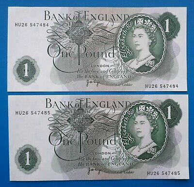 Old British Bank Of England £1 One Pound Bank Notes 2 Consecutive Serial Numbes • 0.99£