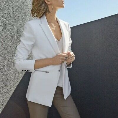 AU342.53 • Buy Veronica Beard Scuba Blazer Jacket White Snap Size 0